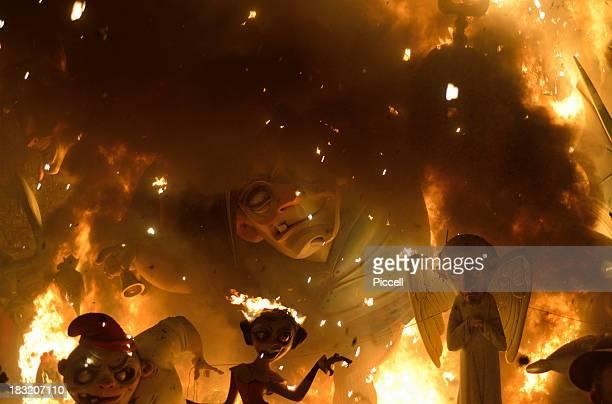 Giant puppet display burning, Las Fallas, Valencia