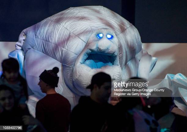 A giant puppet of Frozen character Marshmallow towers above guests at Disney California Adventure's new Frozen attraction INFORMATION...