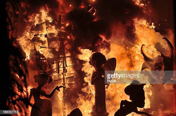 Giant puppets burning at street festival, Valencia