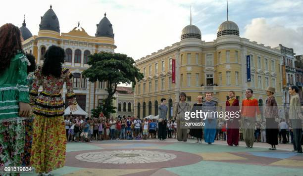 Giant puppets in ancient Recife, Pernambuco, Brazil