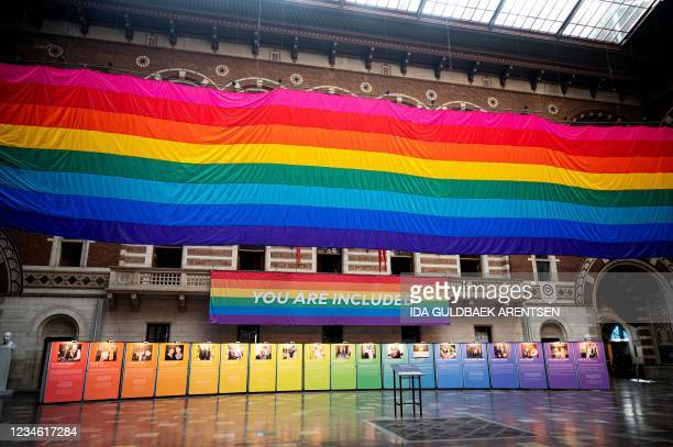 Giant rainbow flag - a 30-metre section of a Rainbow Flag created by Gilbert Baker in commemoration for the Stonewall uprising - is being raised at...