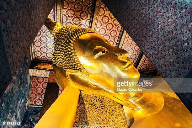 Giant reclining Buddha golden statue