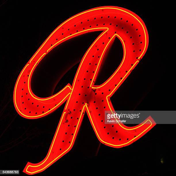 Giant red 'R' neon sign and emblem of iconic Seattle beer brand 'Rainier' Fremont district Seattle Washington March 8 2015