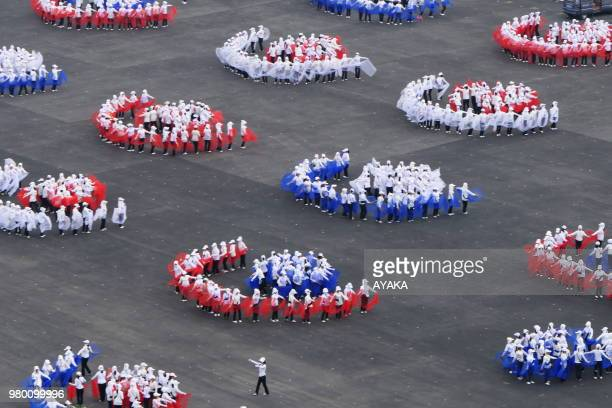 Giant rehearsals of the mass games that will take place in September and celebrating the 70th anniversary of the regime June 12 Pyongyang North Korea