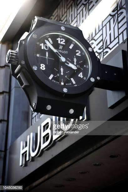 SAN FRANCISCO CALIFORNIA SEPTEMBER 13 2018 A giant replica of a Hublot wristwatch tells the time outside a Hublot watch store in San Francisco...