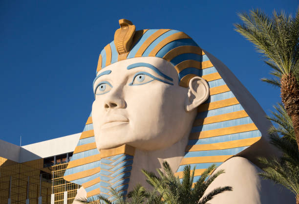Giant replica of the Great Sphinx of Giza in front of the Luxor Hotel and Casino, Las Vegas, Nevada, USA