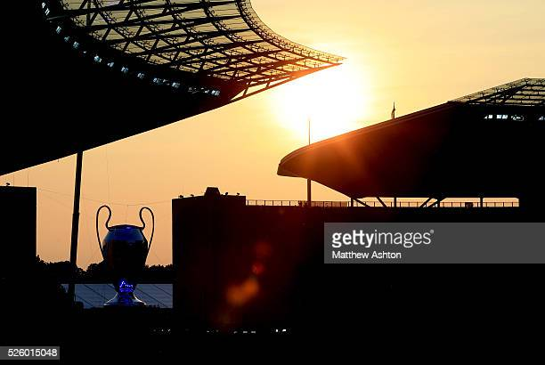 A giant replica of the UEFA Champions League during the sunset at the Olympic stadium Berlin