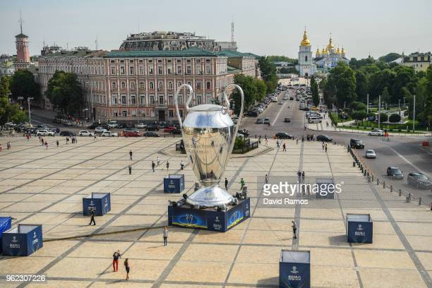 A giant replica of the UEFA Champions league trophy is placed in the city center ahead of the UEFA Champions League final between Real Madrid and...