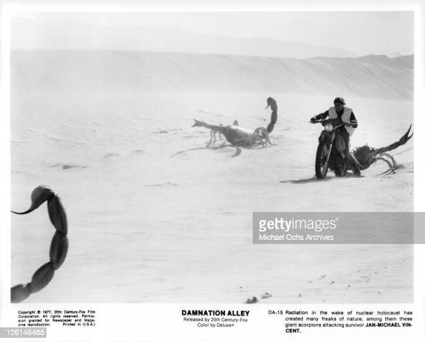 Giant scorpions attack JanMichael Vincent in a scene from the film 'Damnation Alley' 1977