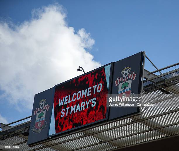 A giant screen at St Mary's stadium as the sun shines down on the ground during the Premier League match between Southampton and Burnley at St Mary's...