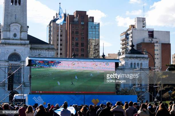 A giant screen displayed in Plaza Moreno Thousands of football fans took to the main square in Buenos Aires to see the Argentine national football...