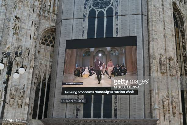 A giant screen on the Milano Duomo presents via video the Men's collection and Men'sWomen's pre collection Spring/Summer 2021 of the Milano digital...