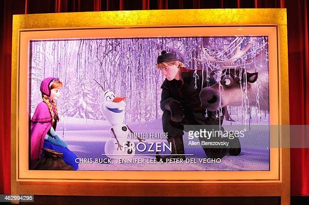A giant screen shows Frozen as the Oscar nominee for Best Animated Feature at the 86th Academy Awards Nominations Announcement at AMPAS Samuel...