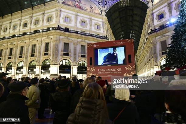 A giant screen shows live the Premiere of 'Andrea Chénier' of Italian composer Umberto Giordano during the opening of the season 2017/2018 of the...