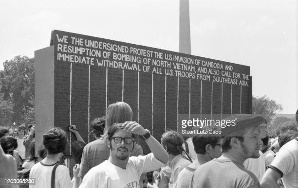 Giant signed petition is visible during a student strike and protest against the Vietnam War on the National Mall in Washington, DC, following the...