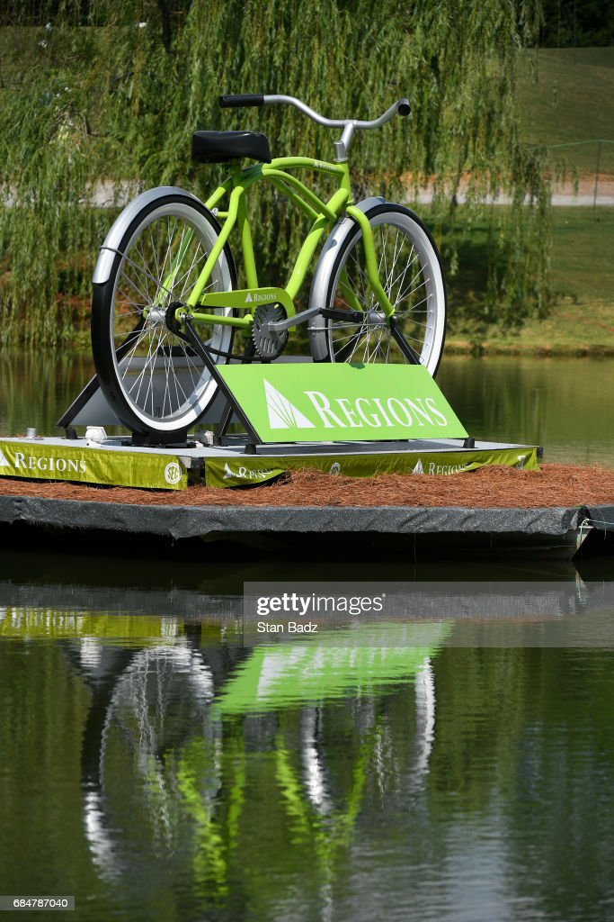 A giant size Regions bike is displayed on the course during the first round of the PGA TOUR Champions Regions Tradition at Greystone Golf & Country Club on May 18, 2017 in Birmingham, Alabama.