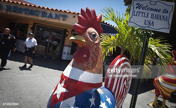 A giant sized rooster in the colors of the Cuban flag is pictured on SW 8th St in the Little Havana area of Miami on May 19 2015