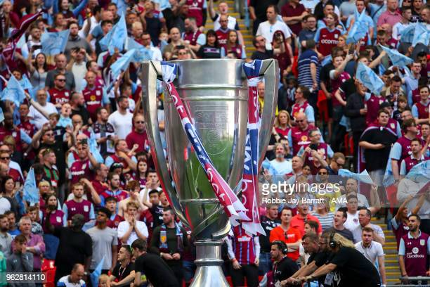 A giant Sky Bet Championship play off final trophy is seen during the Sky Bet Championship Play Off Final between Aston Villa and Fulham at Wembley...