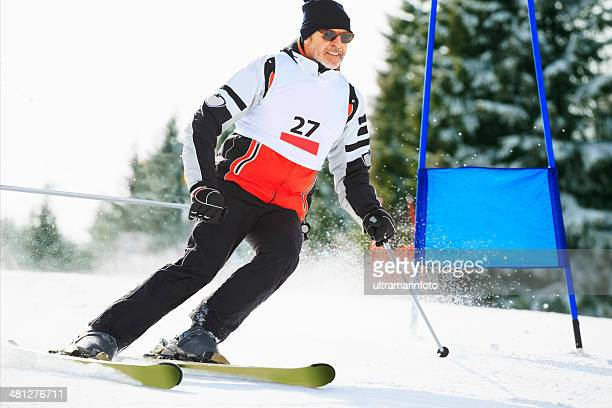 giant slalom race - snow skiing - ski racing stock pictures, royalty-free photos & images