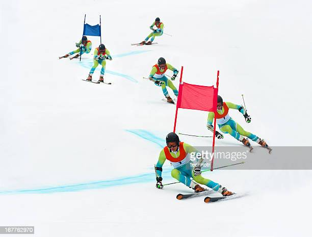 giant slalom skier - ski racing stock pictures, royalty-free photos & images