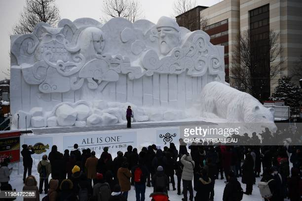 Giant snow sculpture supported by Sapporo Television Broadcasting representing the indigenous northern Japanese peoples Ainu creation myth Ainu...