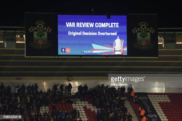 A giant stadium screen reveals the VAR decision on the Craig Bryson goal during the FA Cup Third Round Replay match between Southampton FC and Derby...