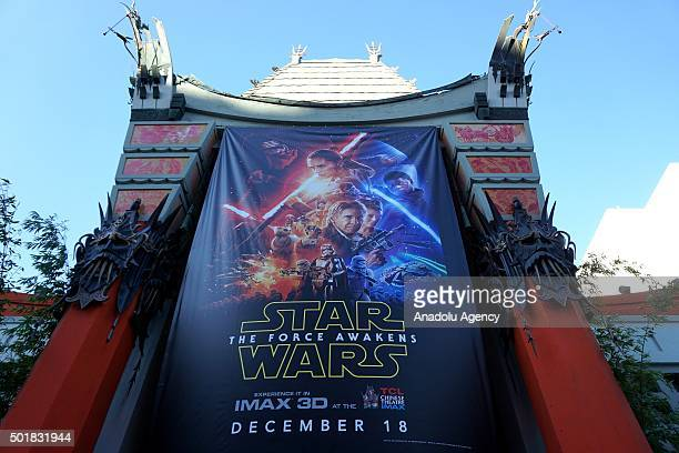 A giant 'Star Wars Force Awakens' poster is seen out side of the Chiniese Theatre during the 'Star Wars' themed wedding ceremony of 29yearsold...