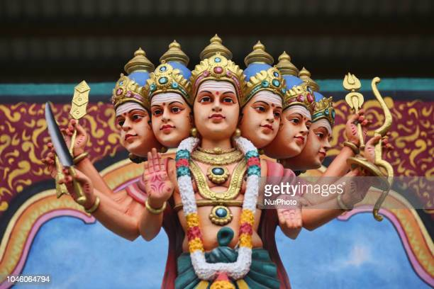 Giant statue of Lord Murgan at the Punchi Katharagama Murugan Temple in Madampe Sri Lanka The temple complex is dedicated to Lord Murugan and opened...