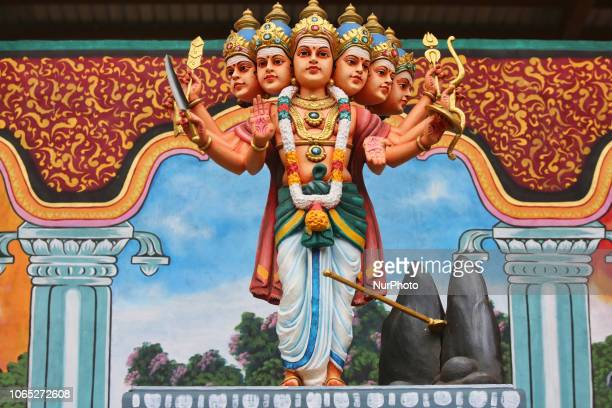 Giant statue of Lord Murugan at the Punchi Katharagama Murugan Temple in Madampe Sri Lanka The temple complex is dedicated to Lord Murugan and opened...