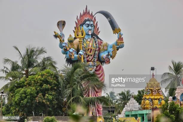 Giant statue of the Hindu Goddess Kail at a Hindu temple in Kadaloor Tamil Nadu India
