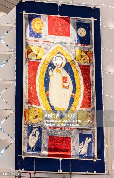 Giant tapestry of Christ as Pantocrator by Brother Martin Erspamer, a monk of Saint Meinrad Archabbey hangs inside Christ Cathedral in Garden Grove...