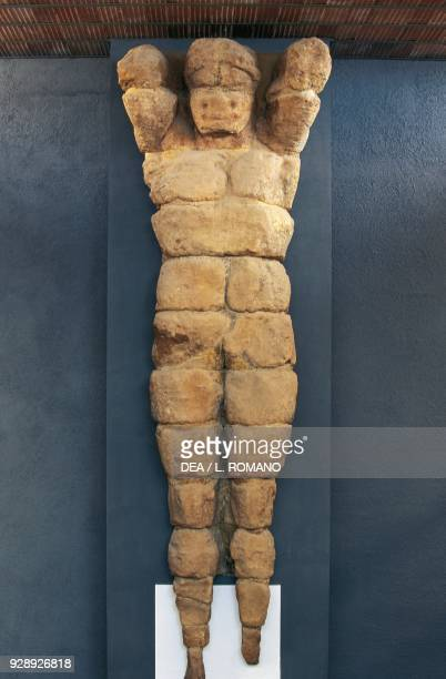 Giant telamon made of calcarenite from the Temple of Olympian Zeus Valley of the Temples of Agrigento Sicily Italy Magna Graecia civilization 480470...