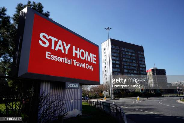 A giant television over the A57 Motorway urges people to stay home on March 26 2020 in Manchester England British Prime Minister Boris Johnson...