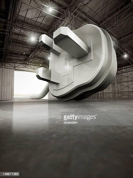 Giant Uk plug in a hangar
