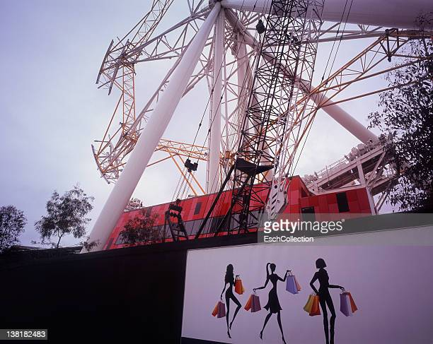 Giant unfinished ferris wheel and fence, Melbourne