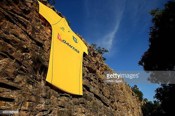 Giant Wallabies jersey is unveiled during a joint Wallabies/Cricket Australia media session at Kangaroo Point Cliffs on June 5 2014 in Brisbane...