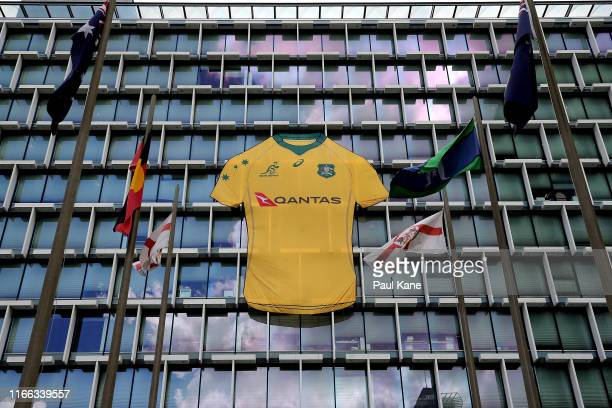 Giant Wallabies rugby jersey adorns Council House ahead of the Bledisloe Cup Test Match between Australia and New Zealand in Perth on August 06, 2019...