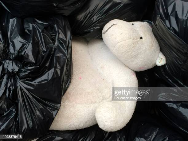 Giant white teddy bear thrown out amongst trash bags, Queens, New York.