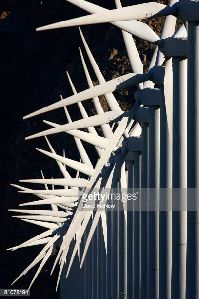 Giant wind turbines are powered by strong prevailing winds on May 13 2008 near Palm Springs California A US government report released this week...
