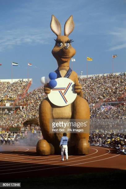 A giant winking Kangaroo mascot called Matilda at the Queen Elizabeth Jubilee Sports Centre in Brisbane during the closing ceremony of the 1982...