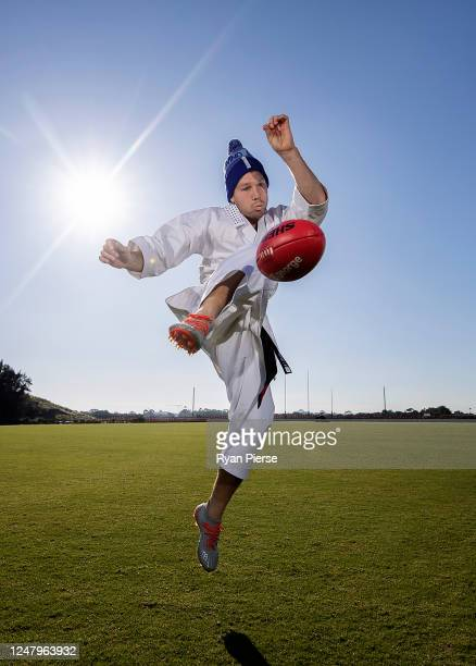 Giants AFL player Toby Greene poses dressed up as The Karate Kid as he participates in the FightNMD Big Freeze 6 at Tom Willis Oval on May 28, 2020...