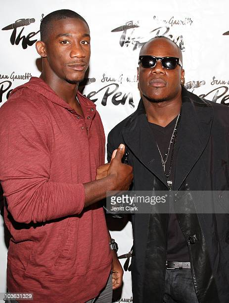 Giants' Antrel Rolle and Sean Garrett attends Sean Garrett's The Inkwell MixTape Launch Party at Lucky Strike on August 24, 2010 in New York City.