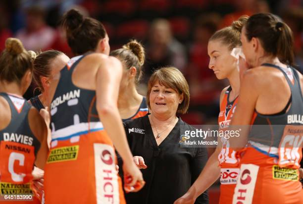 Giants coach Julie Fitzgerald talks to players during the round two Super Netball match between the Giants and the West Coast Fever at Qudos Bank...