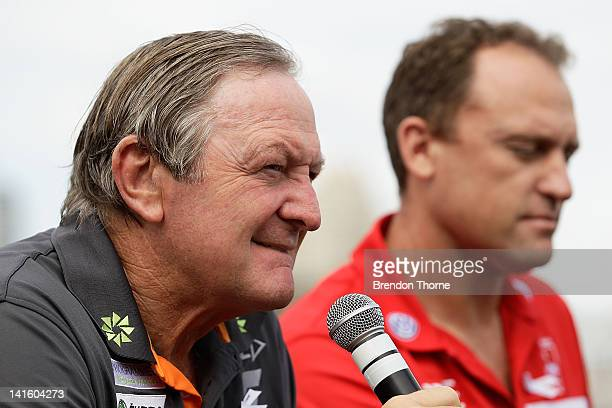 Giants coach Kevin Sheedy and Swans coach John Longmire speak with the media during the launch of the Sydney Derby trophy at Luna Park on March 20,...