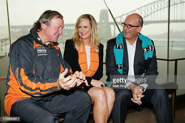 Giants coach Kevin Sheedy cohost of 'Sunrise' Melissa Doyle and cohost of 'Sunrise' and Port Adelaide Power Chairman David Koch pose during a Greater...