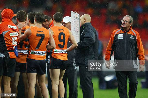 Giants coach Kevin Sheedy looks on during three quarter time during the round 12 AFL match between the Greater Western Sydney Giants and the Richmond...
