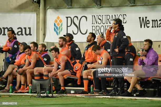 Giants coach Leon Cameron looks on from the bench during the round 17 AFL match between the Greater Western Sydney Giants and the Richmond Tigers at...