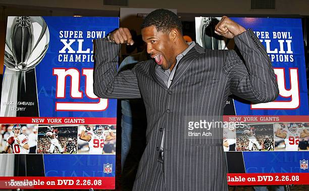 NY Giants defensive end Michael Strahan at the NFL Super Bowl XLII Champions DVD Premiere Screening at AMC Empire 25 Theaters in Times Square on...