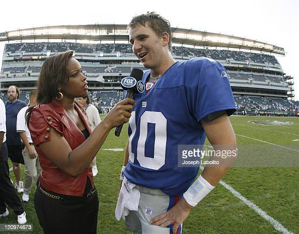 Giants Eli Manning is interviewed after the game by Fox TV's Pam Oliver The New York Giants defeated the Philadelphia Eagles 30 to 24 in overtime at...