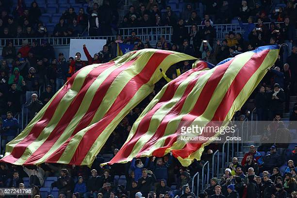Giants Esteladas proindependent Catalonia flags are pictured during the UEFA Champions League Group E football match between FC Barcelona and AS Roma...